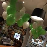 balonky s potiskem a helium white a lime green