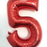 Balónky fóliové narozeniny číslo 5 červené 86cm