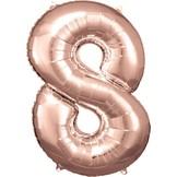 Balónek fóliový narozeniny číslo 8 růžovo-zlaté 86cm