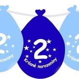 Narozeninové balónky modrý s potiskem 2 visící - 5 ks