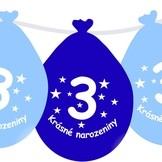Narozeninové balónky modrý s potiskem 3 visící - 5 ks