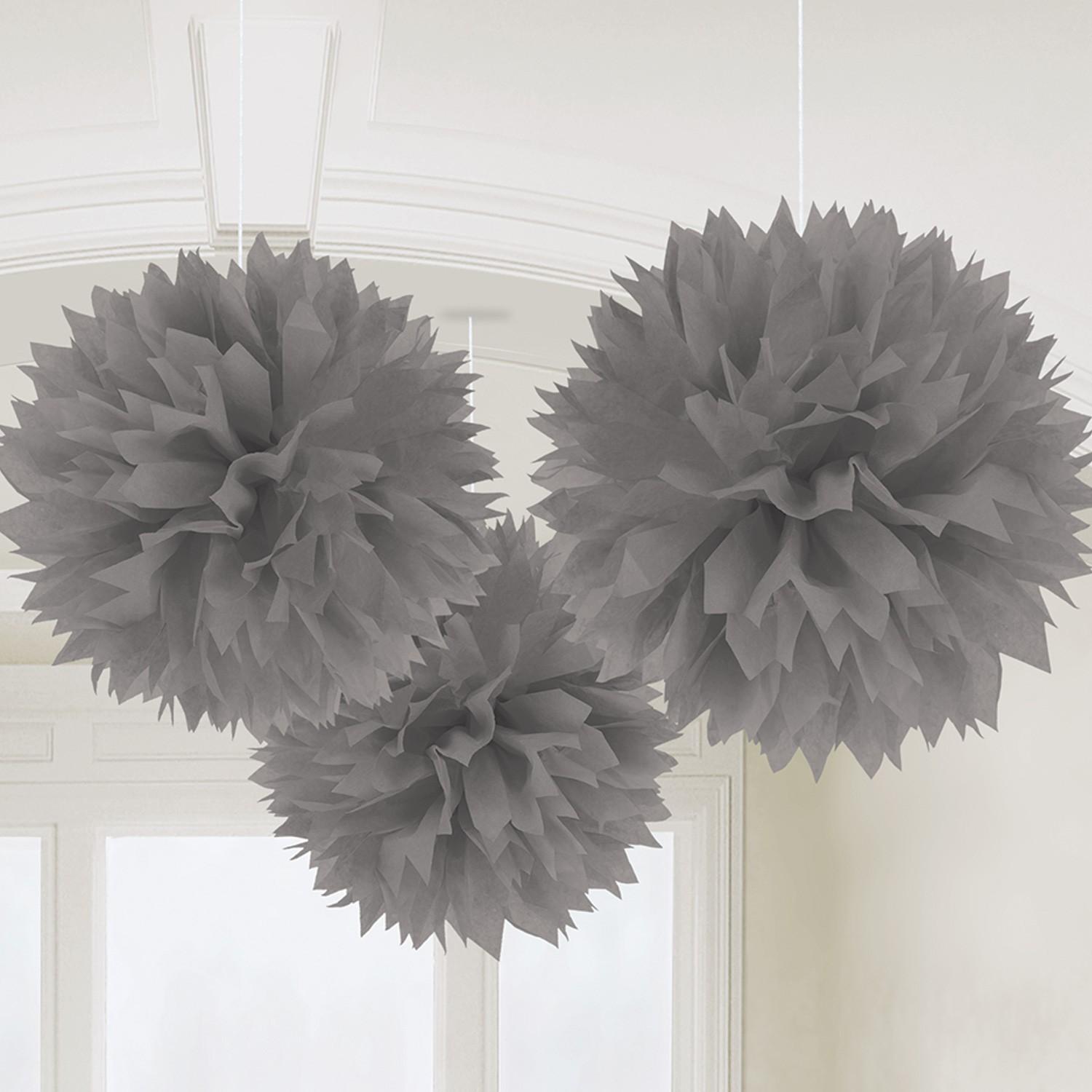 Závěsné dekorace stříbrné 3 ks 40 cm