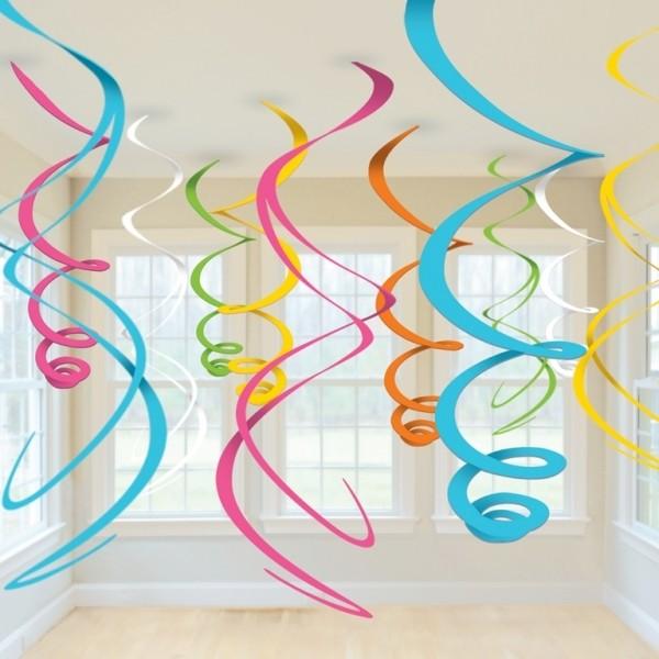 Závěsná dekorace mix barev 12ks 55,8cm