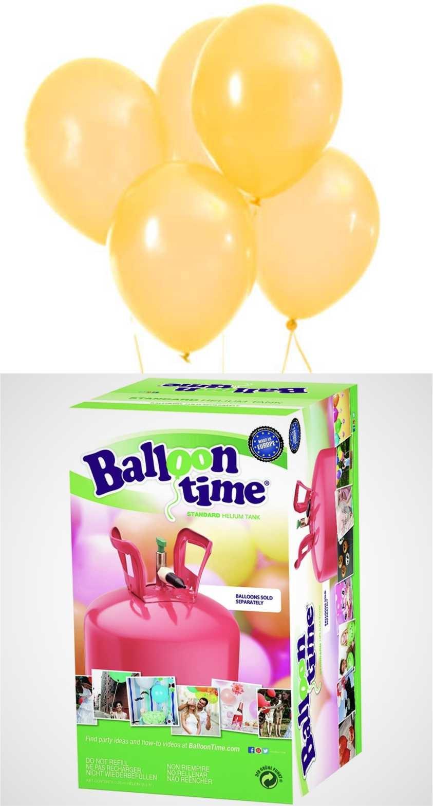 Helium Balloon time + balónky žluté 30ks