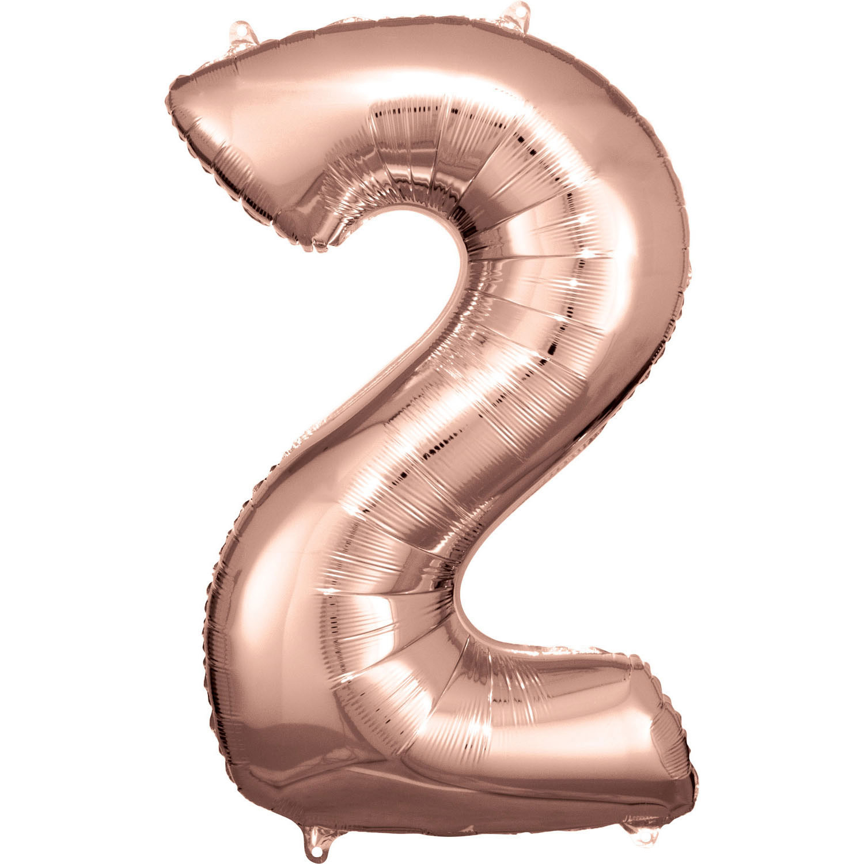 Balónek fóliový narozeniny číslo 2 růžovo-zlaté 86cm