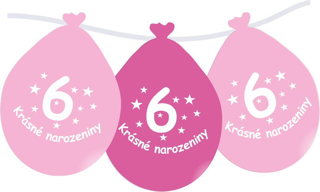Narozeninové balónky růžové s potiskem 6 visící - 5 ks