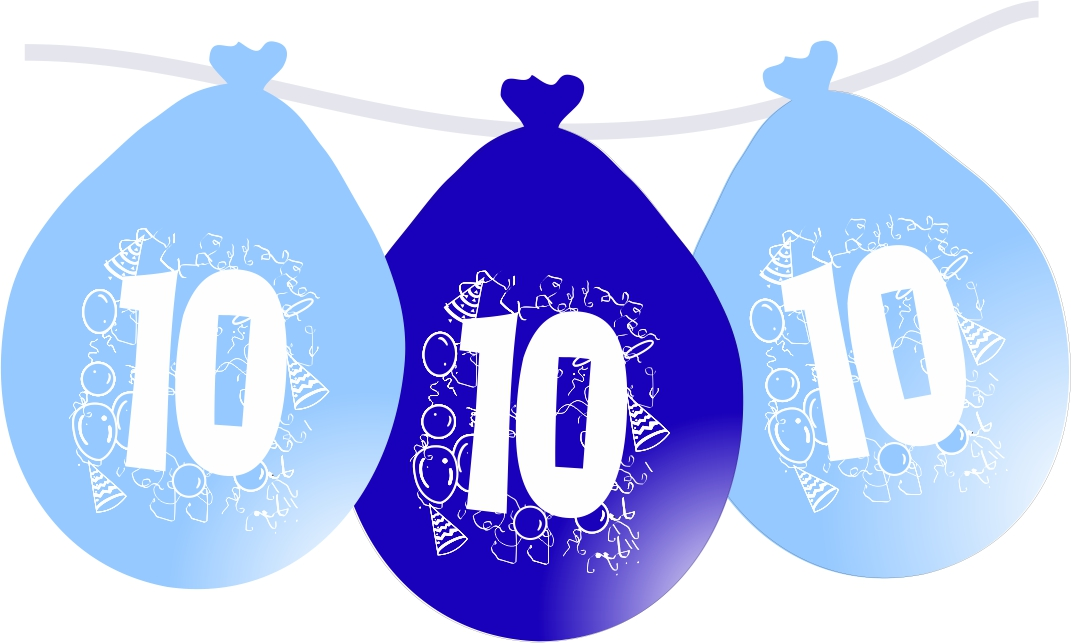 Nafukovací narozeninové balónky modré 10
