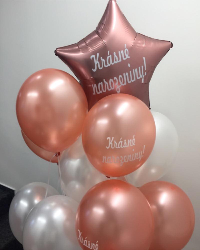 Balónek fóliový růžovo zlatá hvězda Krásné narozeniny!
