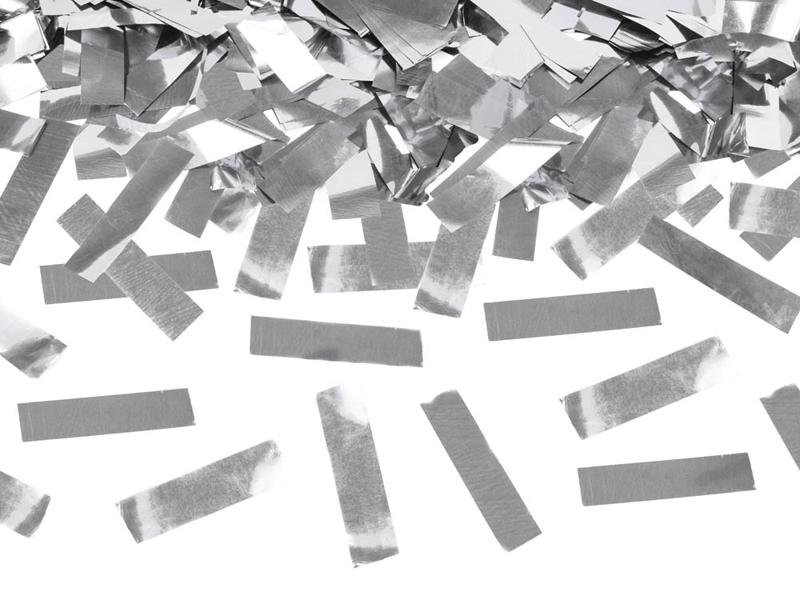 Vystřelovací konfety stříbrné 40cm
