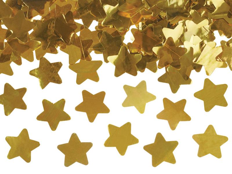 Vystřelovací konfety hvězdy zlaté 40cm