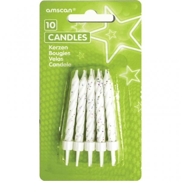 Amscan Dortové svíčky s držáky bílé 10ks
