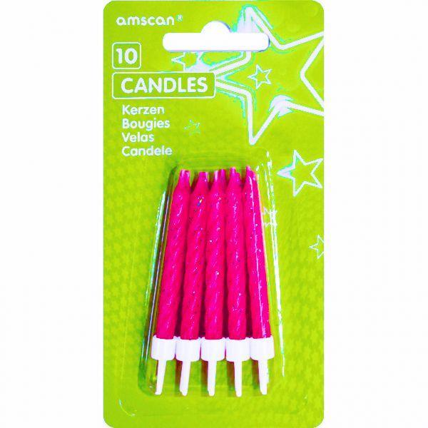 Amscan Dortové svíčky tmavě růžové s glitry a držáky 10ks