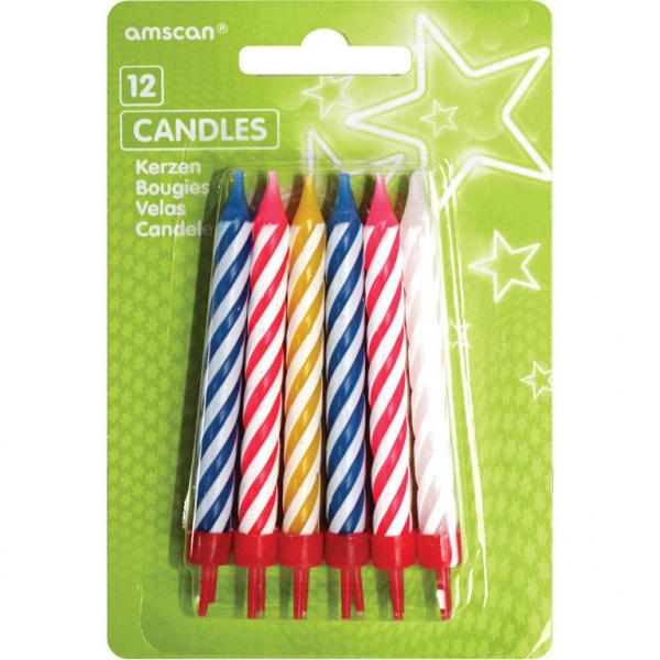 Amscan Dortové svíčky barevné s držáky 12ks - bílá, modrá, žlutá, červená