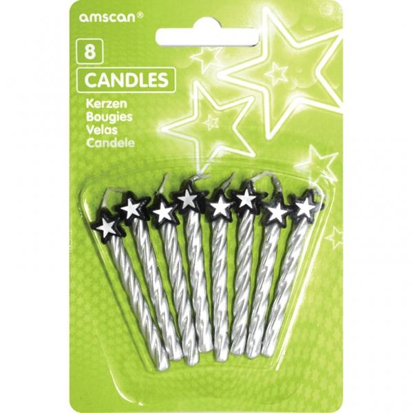 Amscan Dortové svíčky stříbrné s hvězdou 8ks