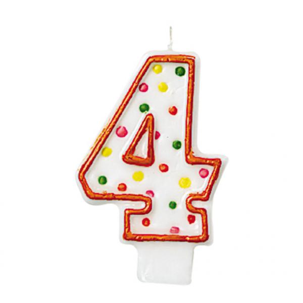 Dortová svíčka číslo 4 s puntíky Amscan