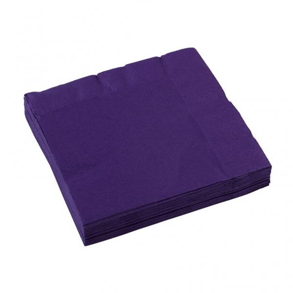 Amscan ubrousky fialová 20ks 3-vrstvé 33cm x 33cm