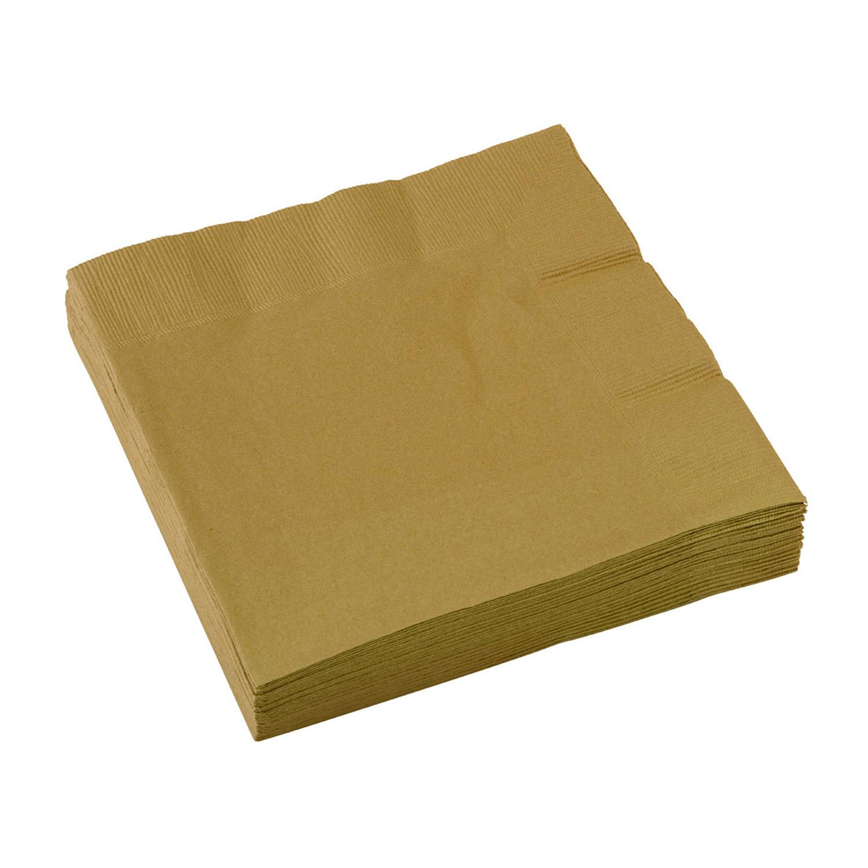 Ubrousky zlaté 20 ks 33 cm x 33 cm 2-vrstvé Amscan