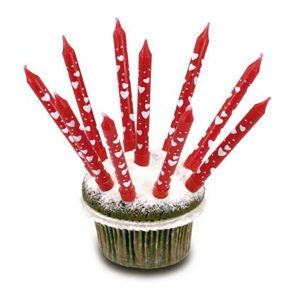 Amscan svíčky narozeninové červené se srdíčky - 10 ks