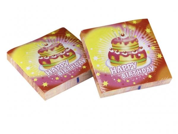 Amscan Ubrousky šťastné narozeniny dort žlutá a růžová 20ks 33cm x 33cm