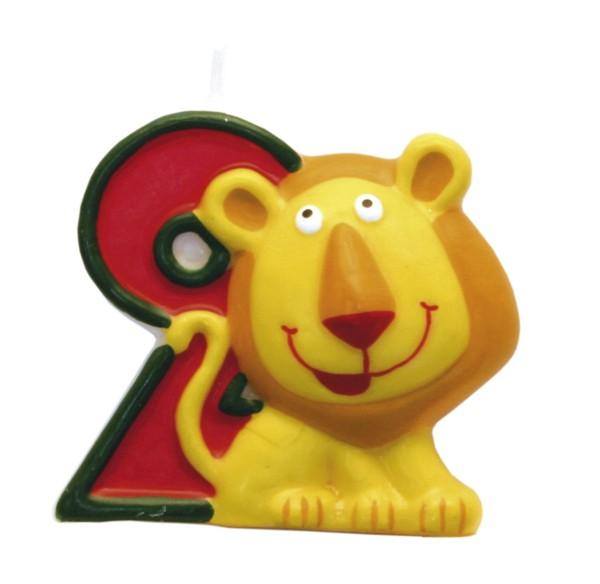 Amscan dortová svíčka Safari číslo 2 červená se zvířátkem
