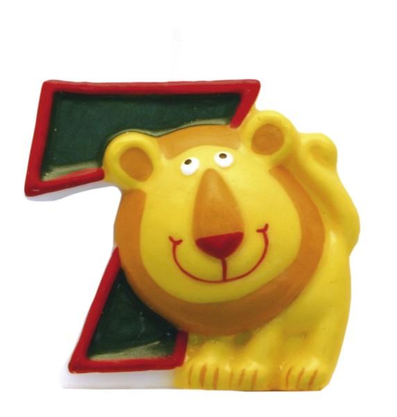 Amscan dortová svíčka Safari číslo 7 zelená se zvířátkem