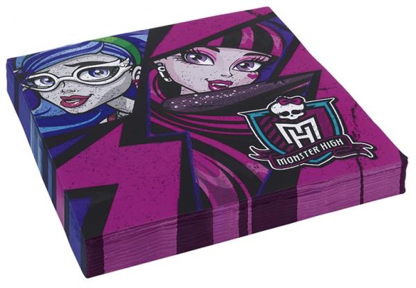 Amscan Monster High 2 ubrousky fialové 20ks 33cm x 33cm