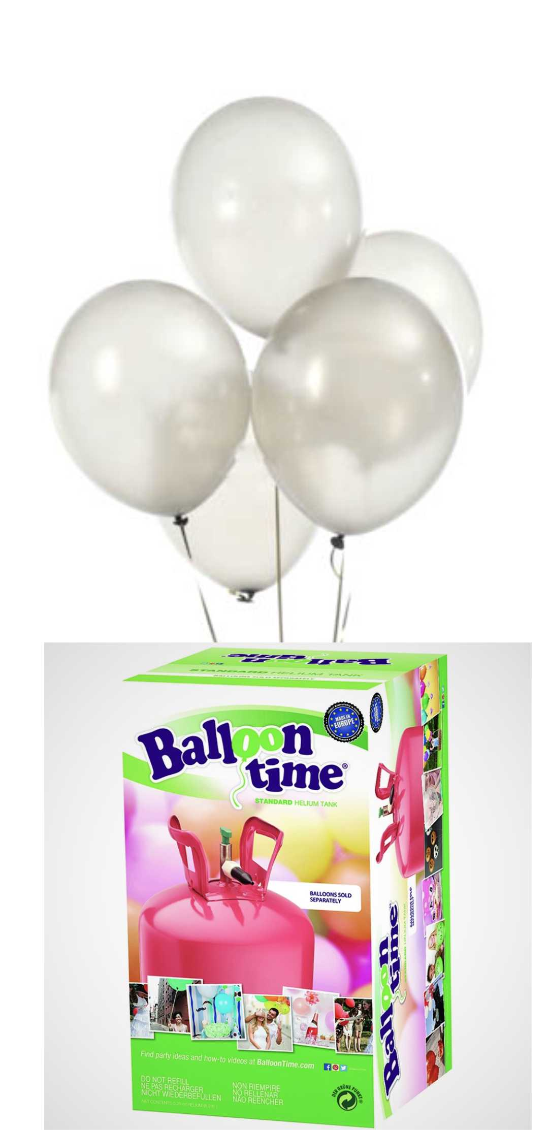Helium Balloon time + balónky White 30ks