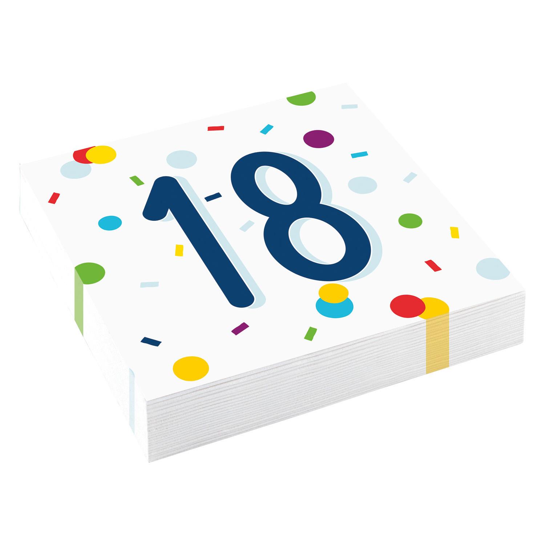 18. narozeniny ubrousky s puntíky 20 ks 33 cm x 33 cm, 3-vrstvé Amscan