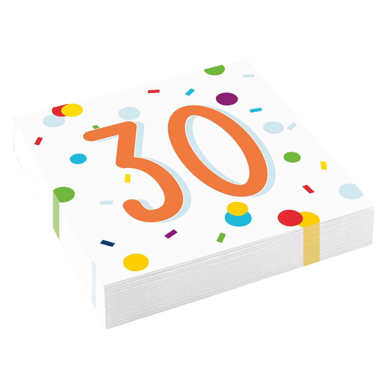 30. narozeniny ubrousky s puntíky 20 ks 33 cm x 33 cm, 3-vrstvé Amscan