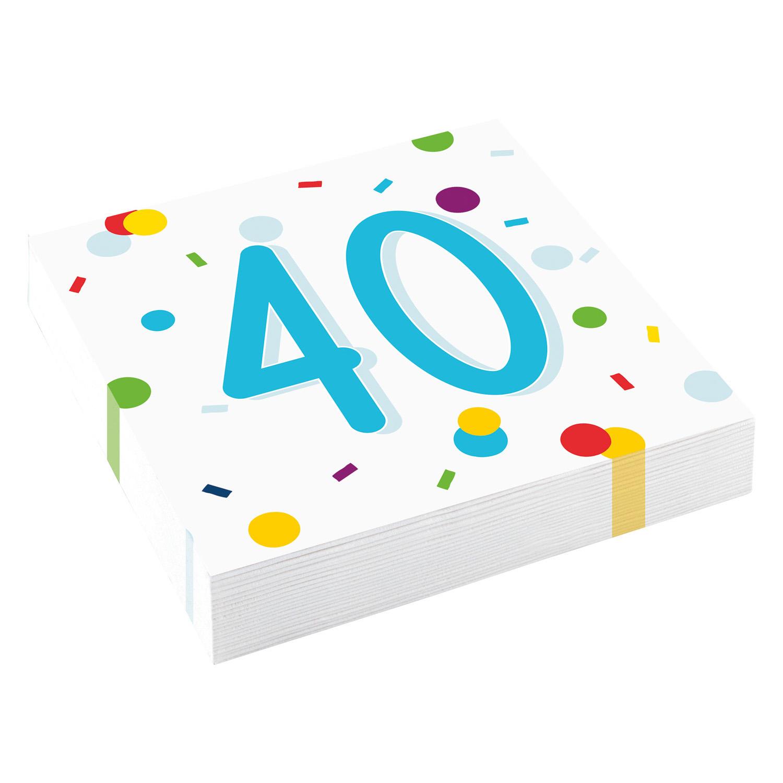40. narozeniny ubrousky s puntíky 20 ks 33 cm x 33 cm, 3-vrstvé Amscan