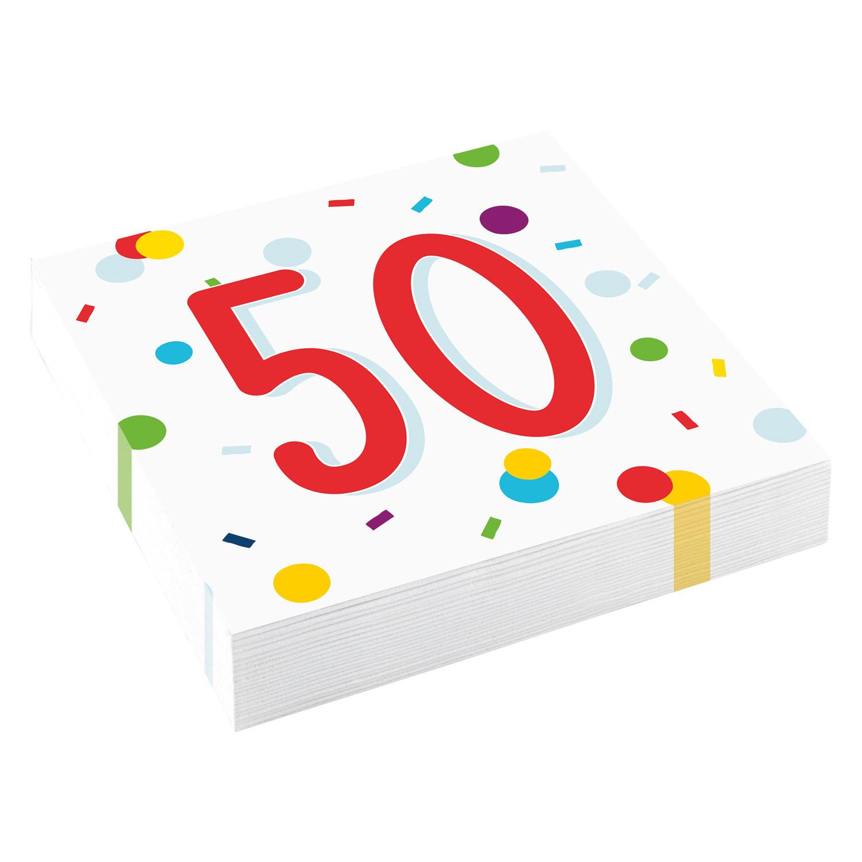 50. narozeniny ubrousky s puntíky 20 ks 33 cm x 33 cm, 3-vrstvé Amscan