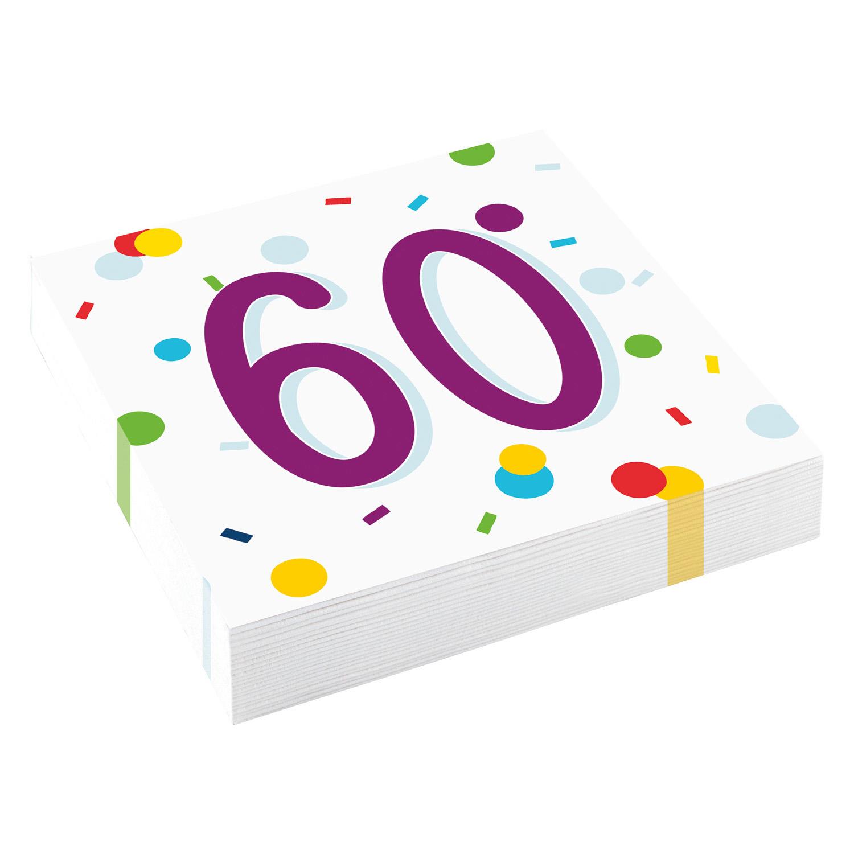 60. narozeniny ubrousky s puntíky 20 ks 33 cm x 33 cm, 3-vrstvé Amscan