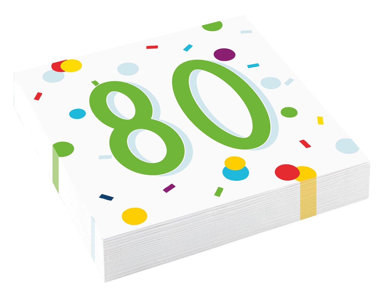 80. narozeniny ubrousky s puntíky 20 ks 33 cm x 33 cm, 3-vrstvé Amscan