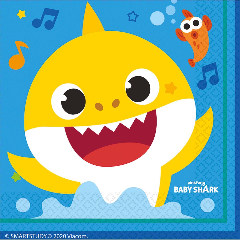 Baby Shark ubrousky 16 ks 2-vrsrvé 33 cm x 33 cm Amscan