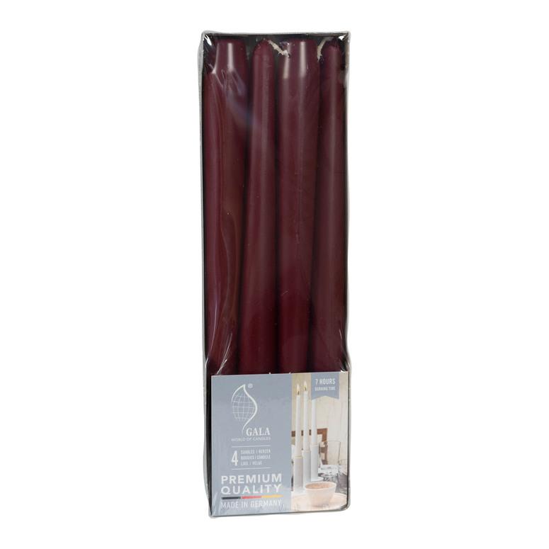 Svíčky bordové se stearinem 4 ks 25 cm