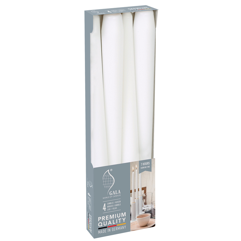 Svíčky bílé se stearinem 4 ks 25 cm