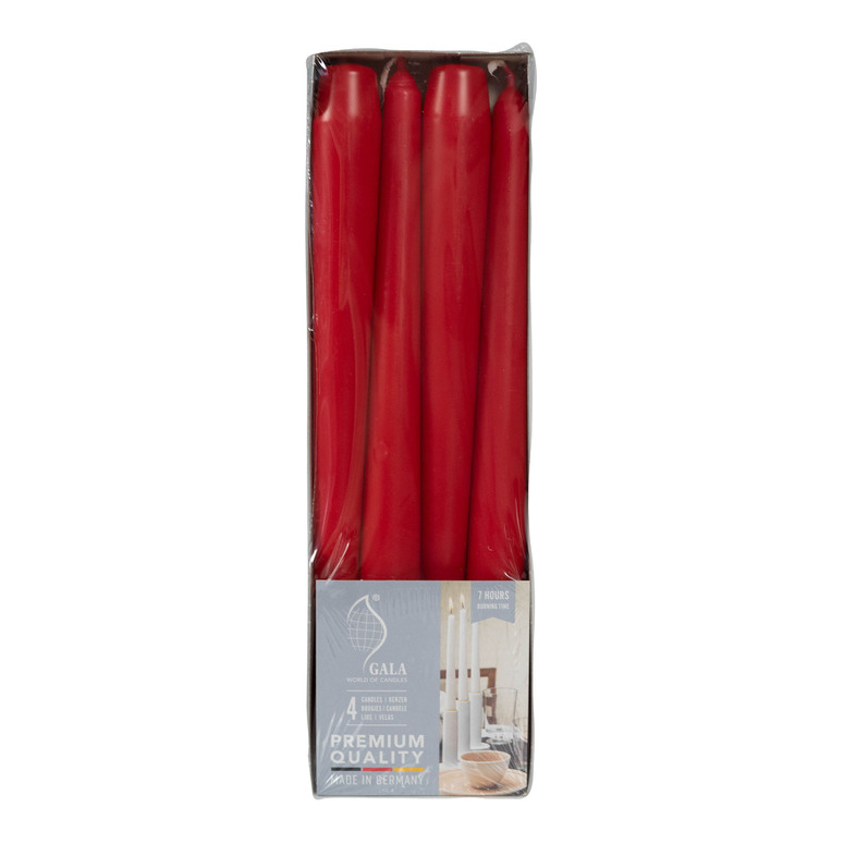 Svíčky červené se stearinem 4 ks 25 cm Gala kerzen