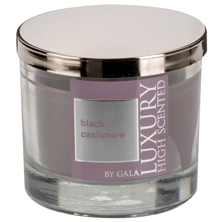 Vonná svíčka Black Cashmere 2-knotová ve skle Lyon s kovovým víkem Gala kerzen