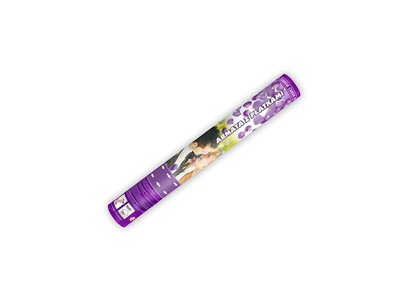 Partydeco Vystřelovací konfety lístky růží fialové 40 cm