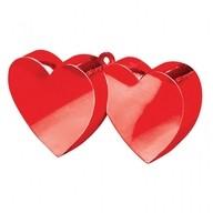Závaží na balónky srdíčka červené spojené
