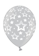 Stars balonek metallic stříbrný s plným potiskem