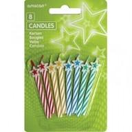 Dortové svíčky s hvězdou 8ks mix barev