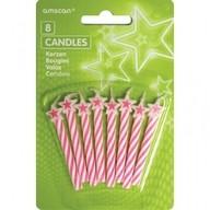 Dortové svíčky růžové s hvězdou 8ks