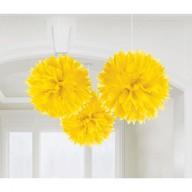 Závěsné dekorace žluté 3 ks 40 cm