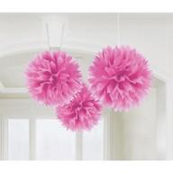 Závěsné dekorace růžové 3 ks 40,6 cm