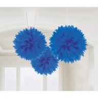 Závěsné dekorace modré 3 ks 40 cm