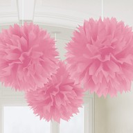 Závěsné dekorace svetle ružové 3 ks 40 cm