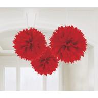 Závěsné dekorace červené 3 ks 40 cm