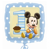 Mickey Mouse foliový balónek 1. narozeniny kluk 45cm