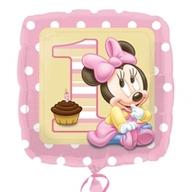 Minnie Mouse foliový balónek 1. narozeniny holčičí 45cm
